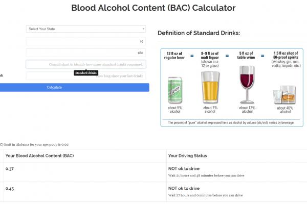 Blood Alcohol Content Calculator